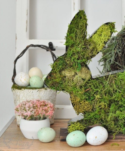 Cute Easer decor with a moss-covered bunny
