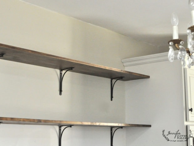 Open shelving with greige paint