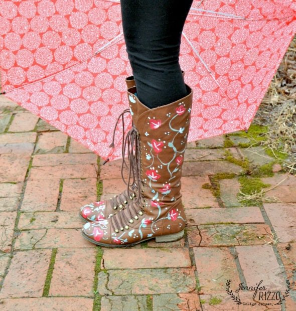 DIy hand-painted floral boots with paint