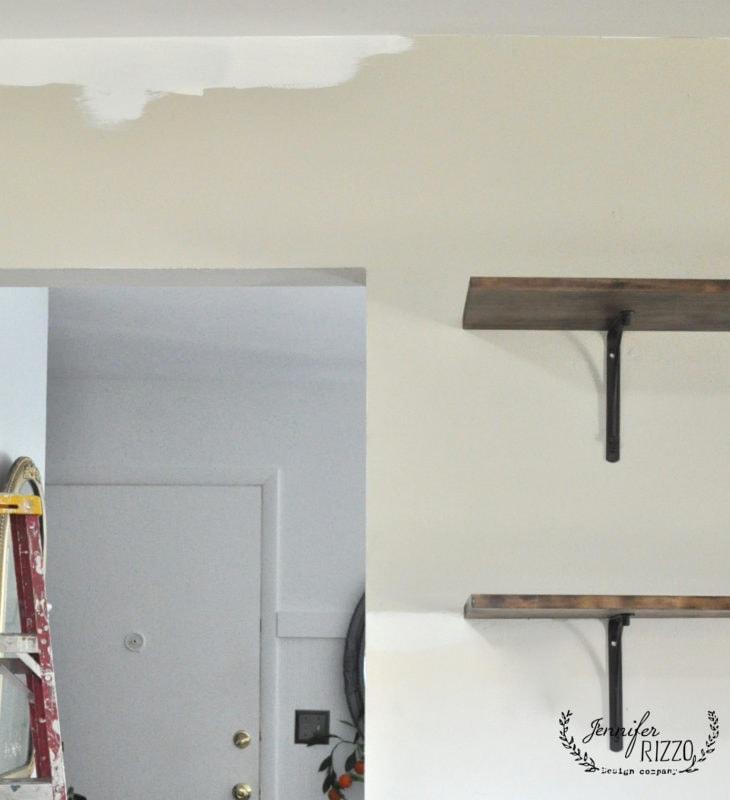 Painting white around open shelving