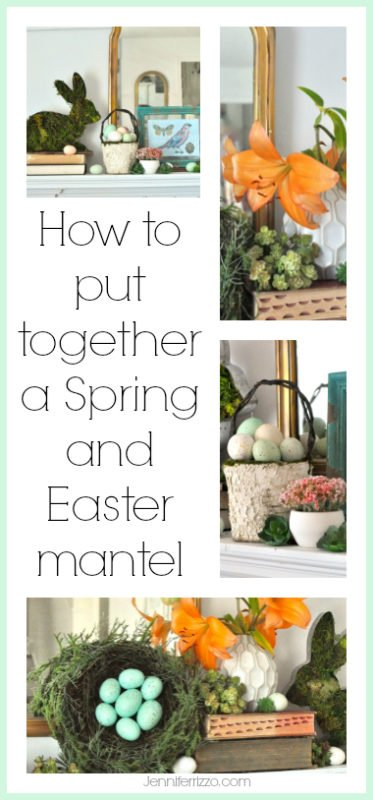 How to style a spring and Easter mantel with mantel styling tips!