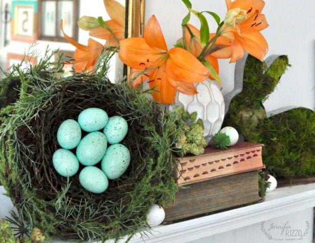 Styling a spring ans Easter mantel with natural decor