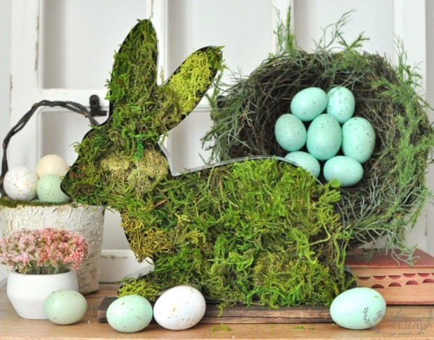 Make a cute moss coevered rustic bunny