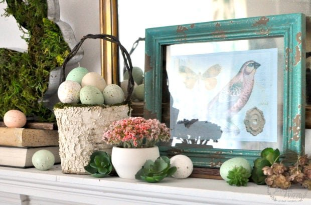Spring and Easter mantel idea with eggs and succulents for a fresh take on spring