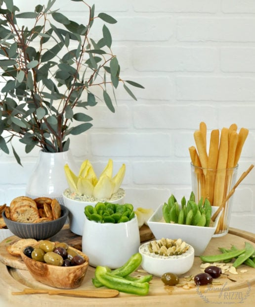 Succulent inspired party tray idea for appetizers and dips