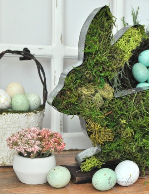 Moss-covered rustic bunny for spring and Easter decor