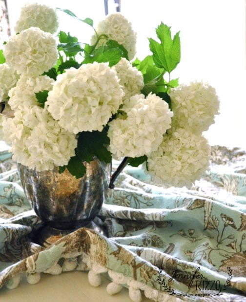 Vintage silver with snowball viburnum