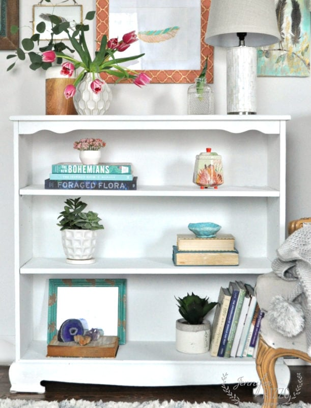 Book case styling idea with boho decor