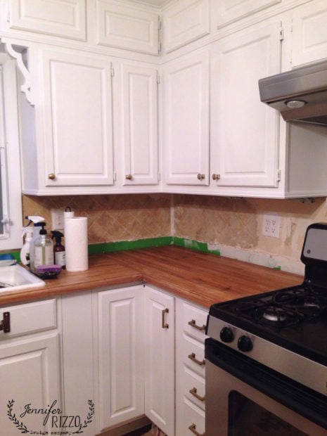 Finally replacing the kitchen backsplash jennifer rizzo for Replacing backsplash