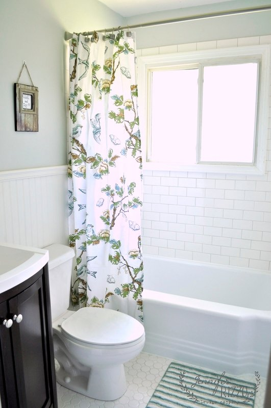 Bathroom with white subway tile and beadboard - Jennifer Rizzo