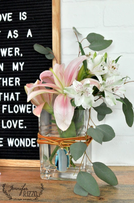 Boho inspired vase easy to make for Mother's Day with jewejlry supplies