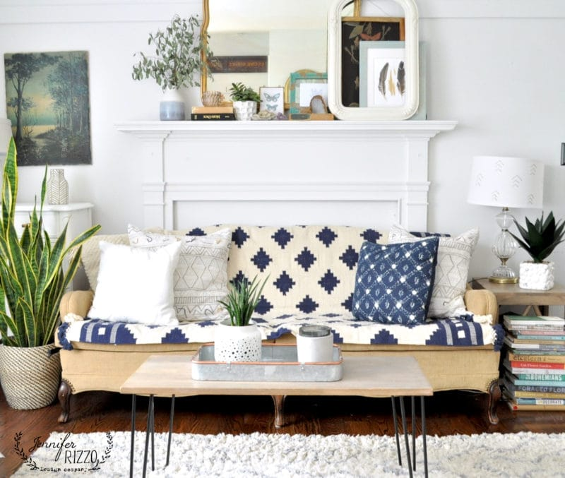 Throw rug as a couch covering for boho style