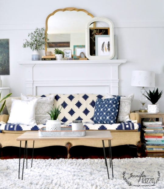 Boho couch and mantel with a natural style
