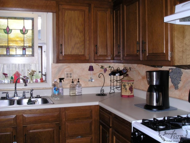 Old kitchen cabinets mural and decorative painting