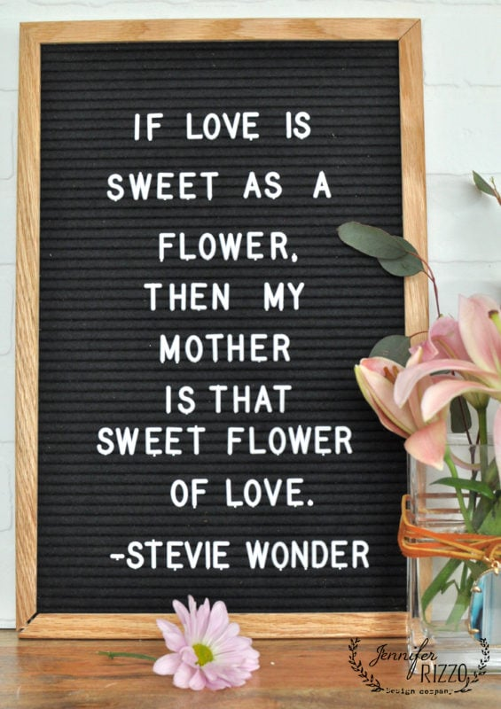Stevie Wonder quote and vase for a Mother's Day idea
