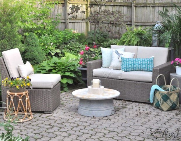 mini-outdoor brick patio makeover in a small side yard
