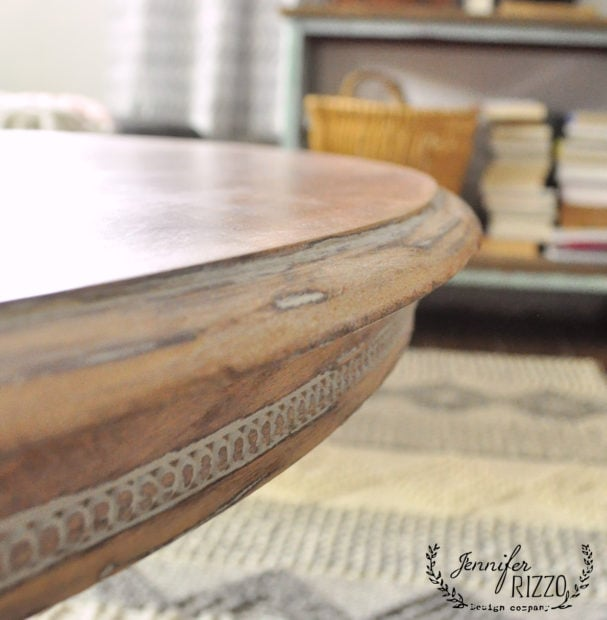 Detail of sanded wood table with white wax