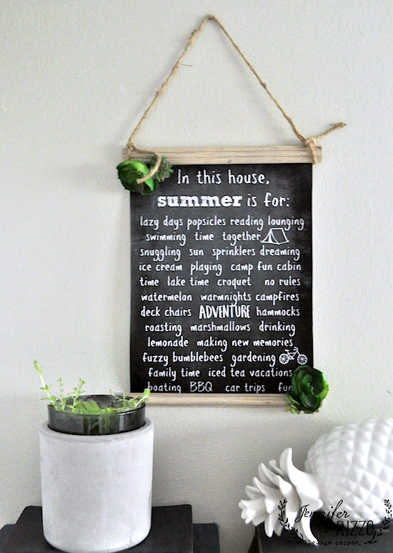 Make a hanging chart with this free summer fun printable