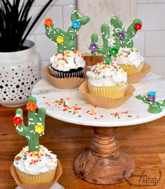 Fun candy sprinkles and flowers make cactus inspired cupcake toppers