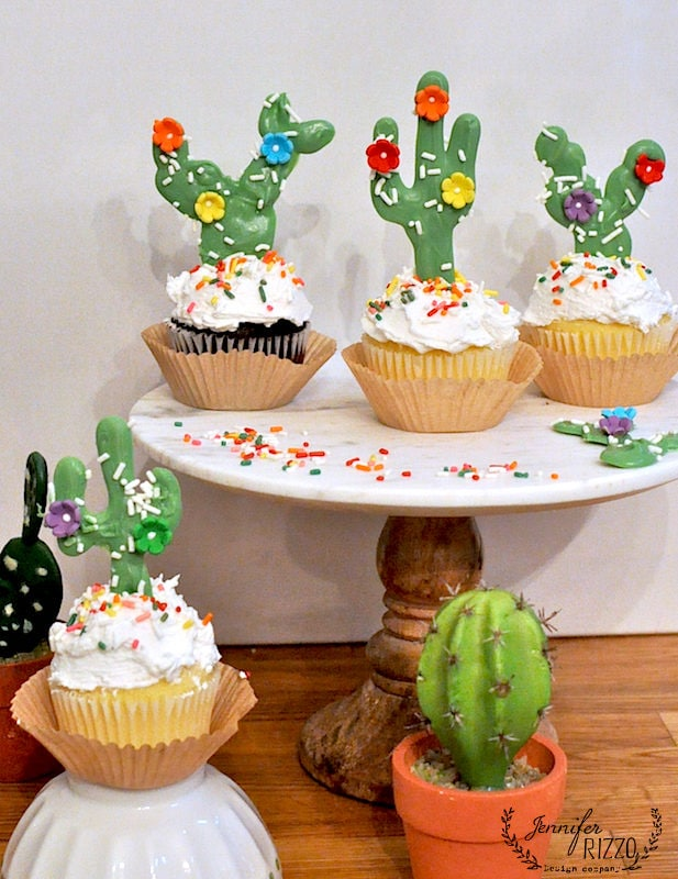 Cactus cupcake toppers so cute to make for a party idea!