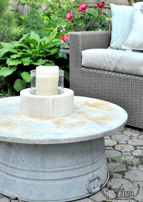 galvanized tub and marble top outdoor table