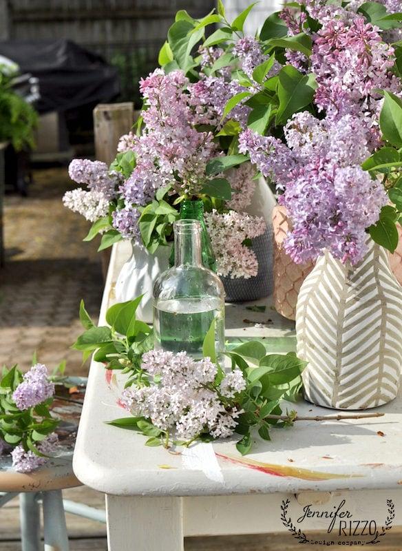 LIlacs in vases