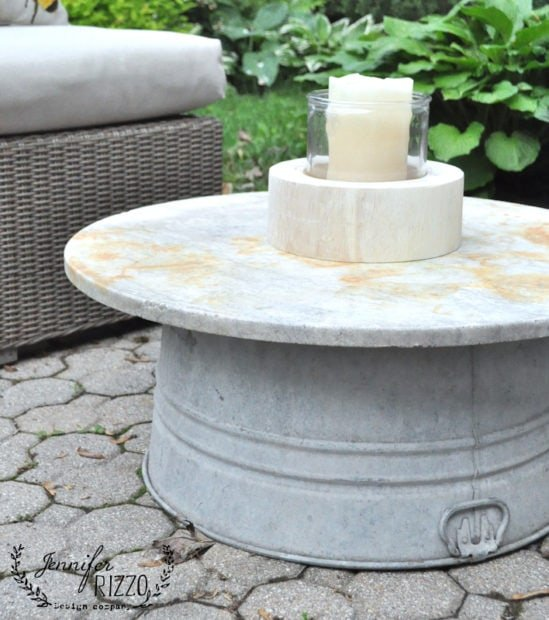 Old marble top and glavanzied tub used to make an outdoor table