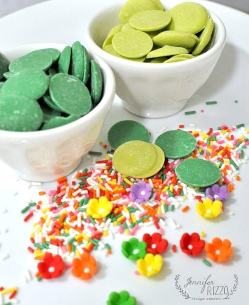 Sprinkles and candy melts to make cactus cake toppers
