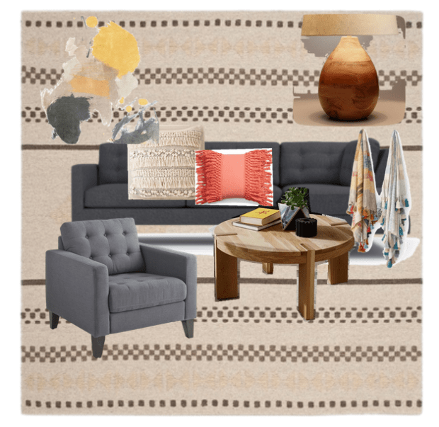 Downstairs family room inspiration styled with natural wood and colorful touches