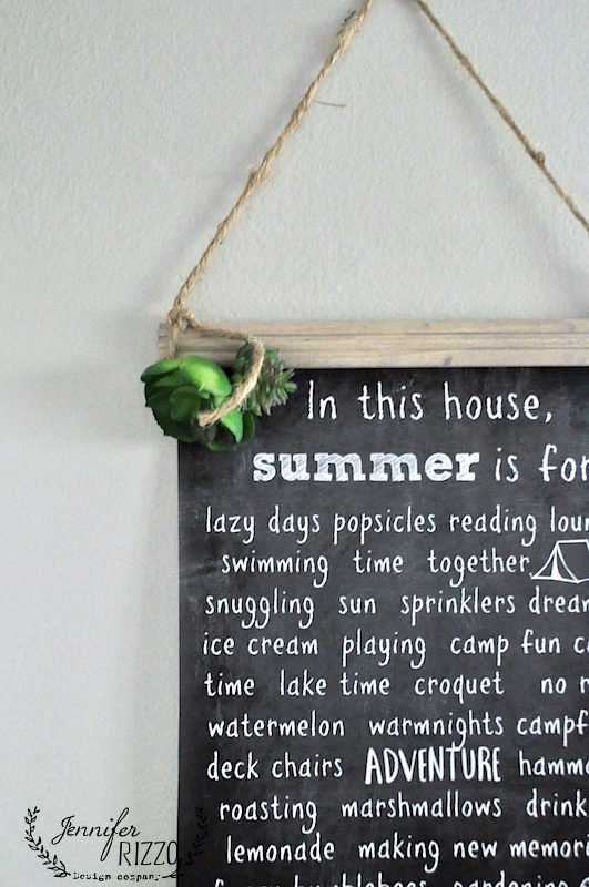 Succulents glued on summer fun printable hanging chart