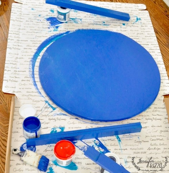 Tile top table DIY parts painted