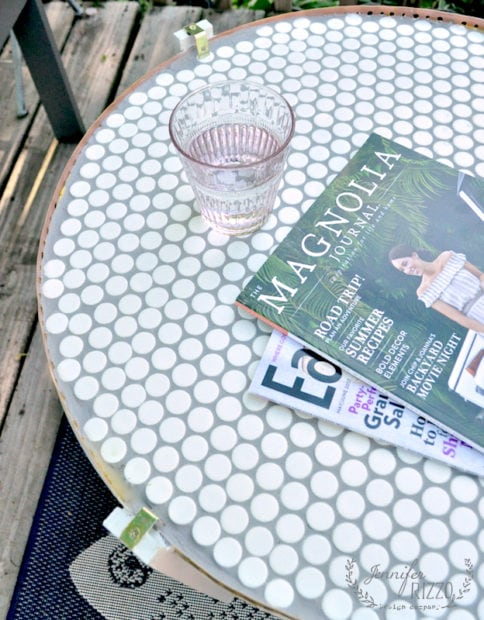 A DIY penny tile table top