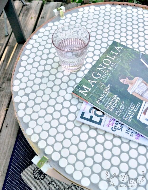 A DIY penny tile table top