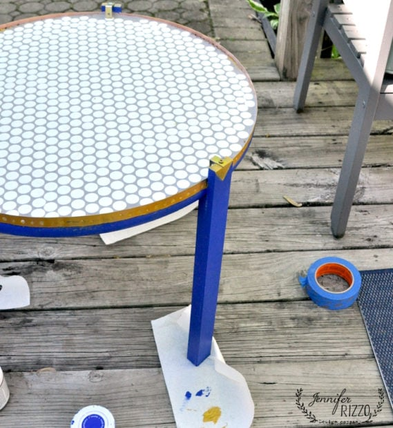 Penny tile top table in blue