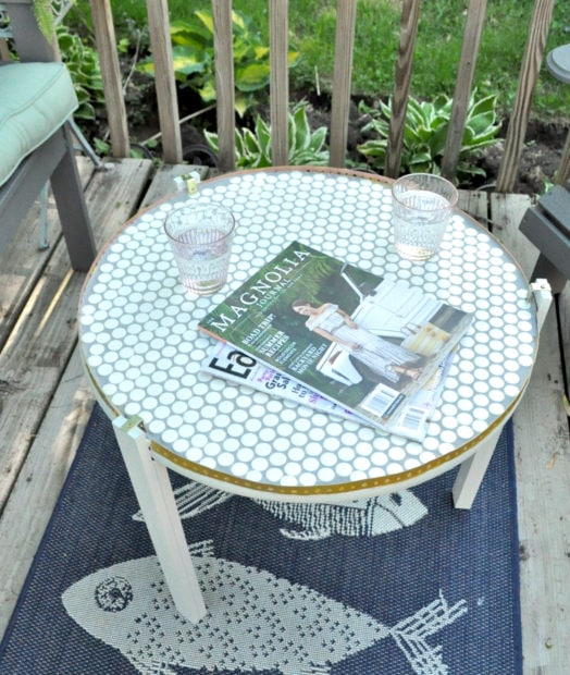 Penny tile table top in gray paint