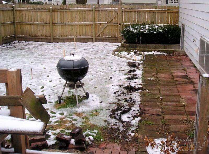 Side yard evolution and brick patio