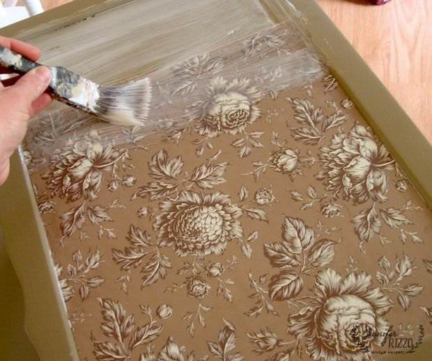 Using scrapbook paper to embellish furniture