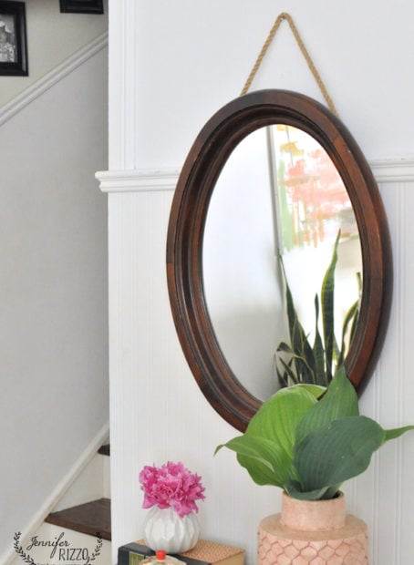 Easy thrift store hanging rope mirror