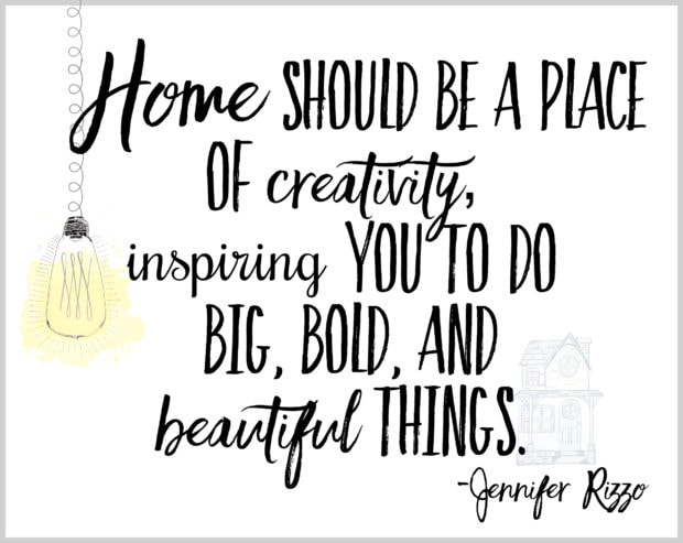 Inspiring home quote. Home should be a place of creativity