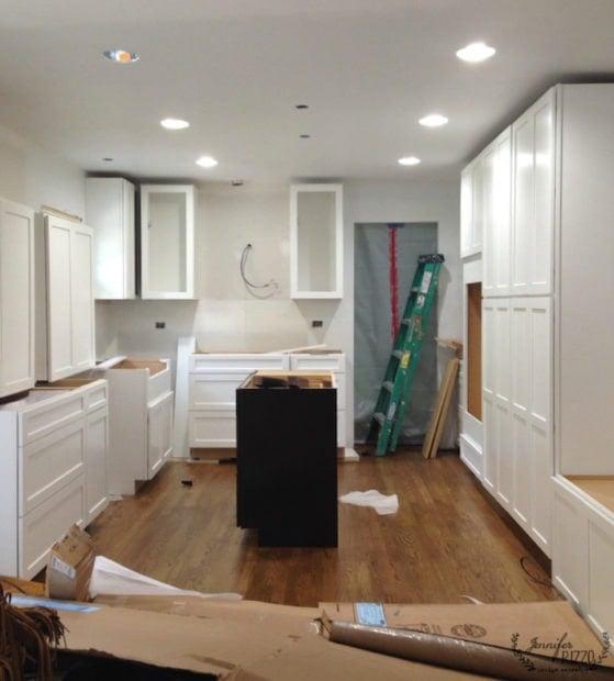 Client cabinet install, white cabinets dark island