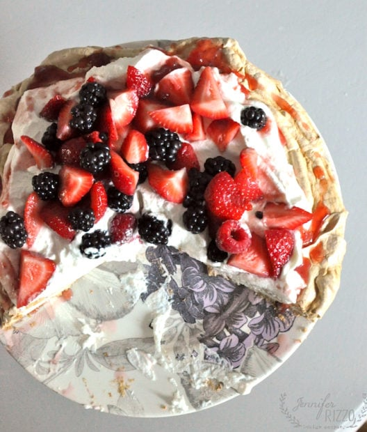 Pavlova with berries and whipped cream. And amazingly delicous and beautiful dessert.