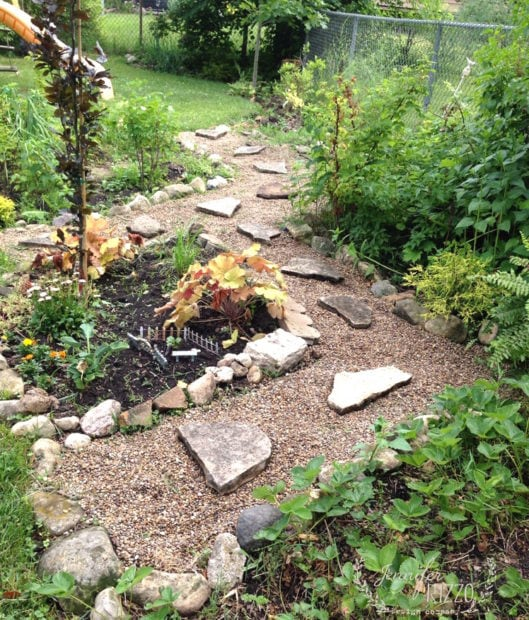 Pea gravel paths in backyard