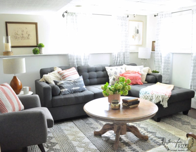 Use a smaller sectional in a basement family room