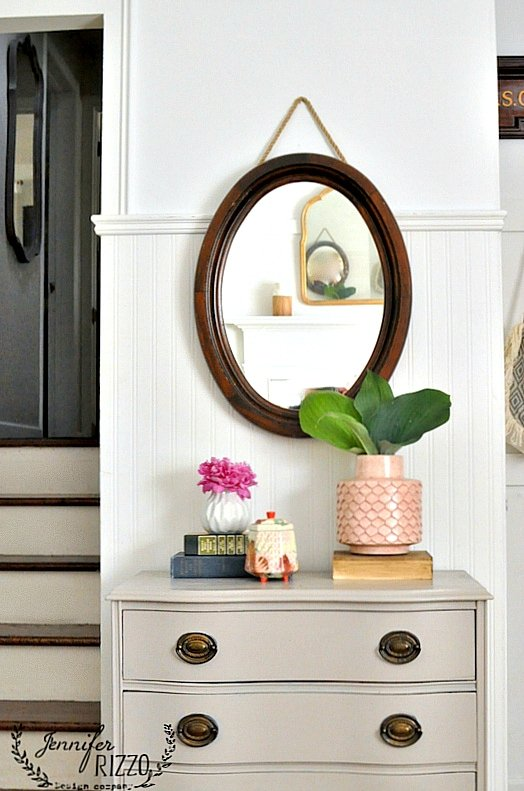 Hanging rope wood mirror for an older mirror easy update