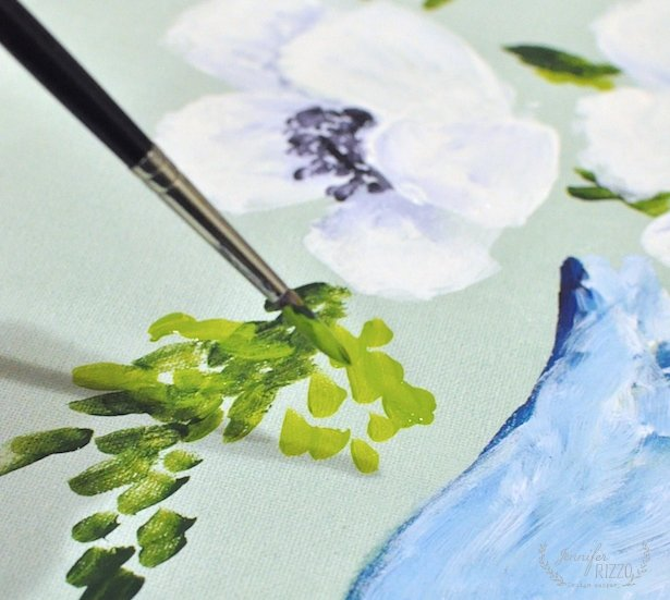 Painting anemones in acrylic paint