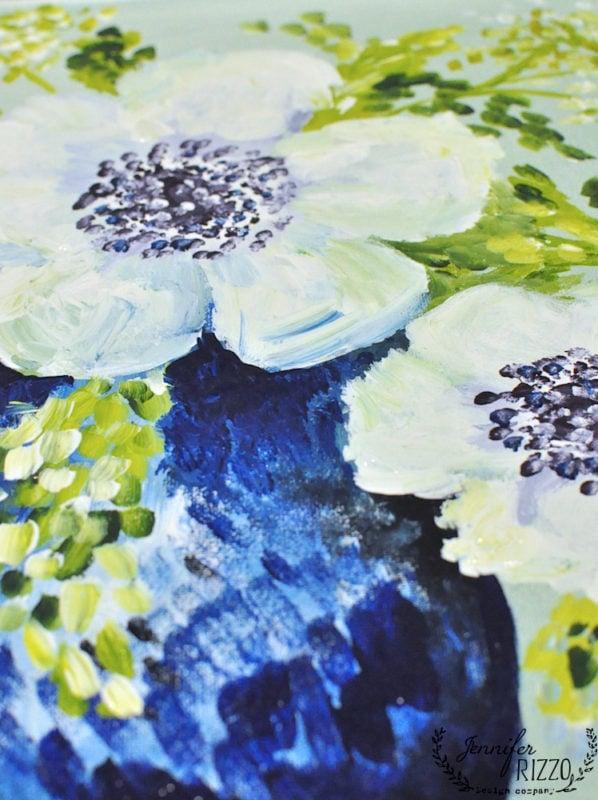 Anemones in acrylic paint
