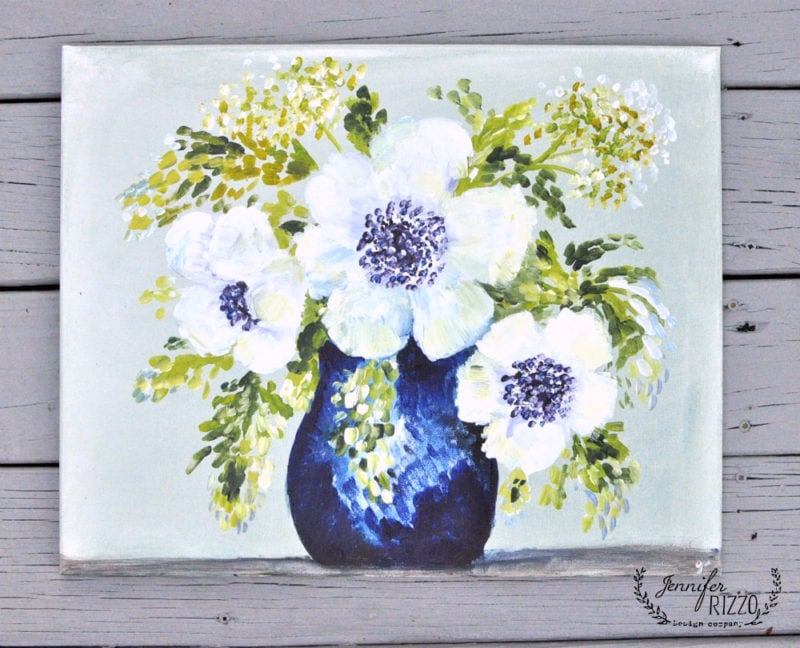 Anemones in acrylic canvas by Jennifer Rizzo