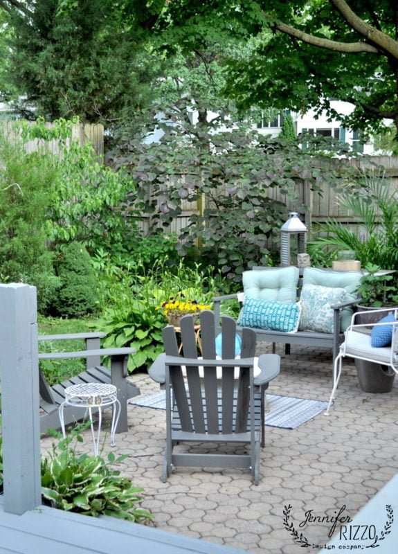 Back yard brick seating area