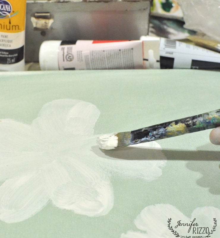 Underpaint petals in white paint