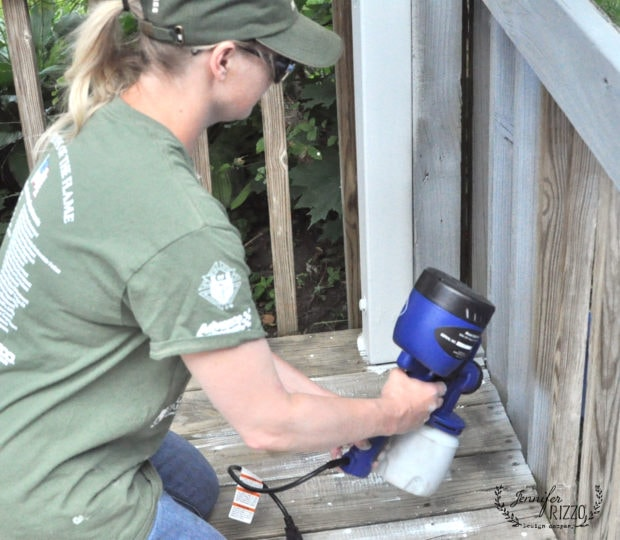 Using a paint sprayer for the rails on a painted deck